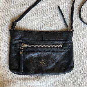 Fossil Black Leather Crossbody Small Handbag